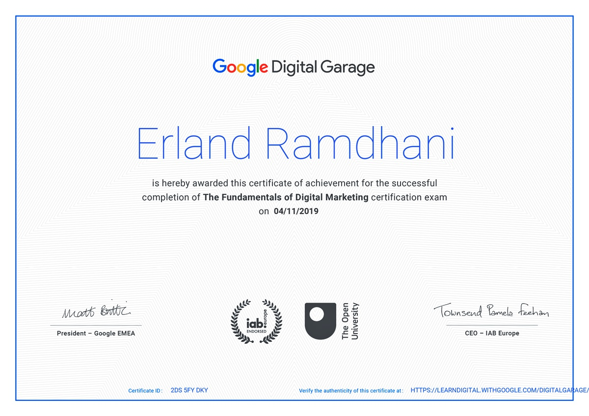 Digital Garage Certificate