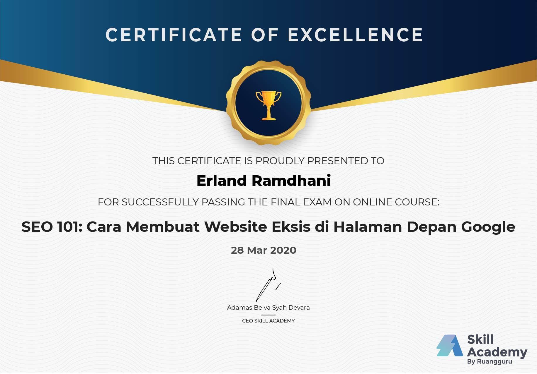 Skill Academy SEO Certificate