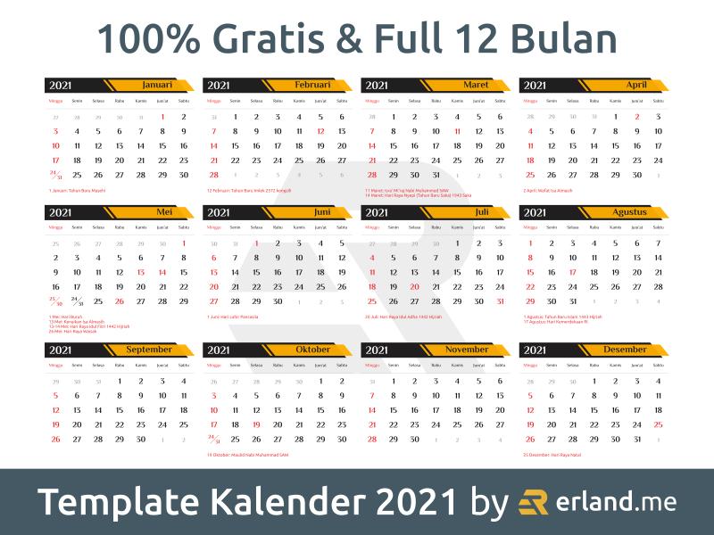 Download Template Kalender 2021 Lengkap dan Gratis